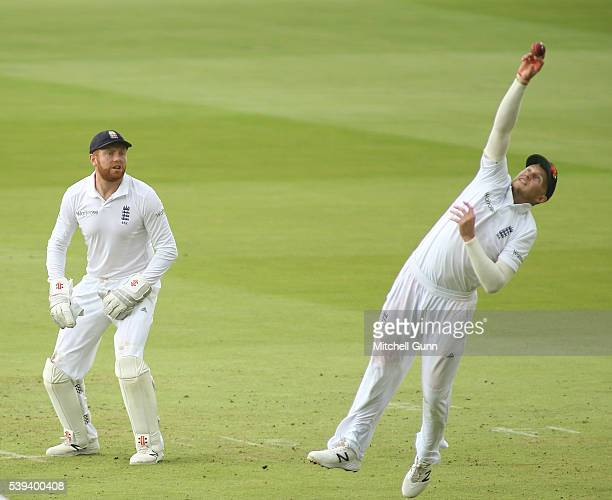 Joe Root of England drops a catch during day three of the 3rd Investec Test match between England and Sri Lanka at Lords Cricket Ground on June 11,...