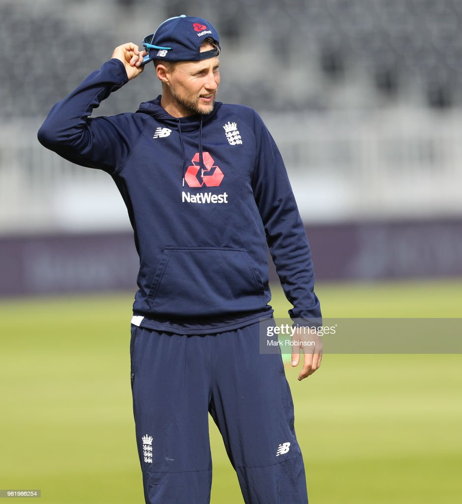 Joe Root of England during a nets session at Old Trafford on June 23, 2018 in Manchester, England.