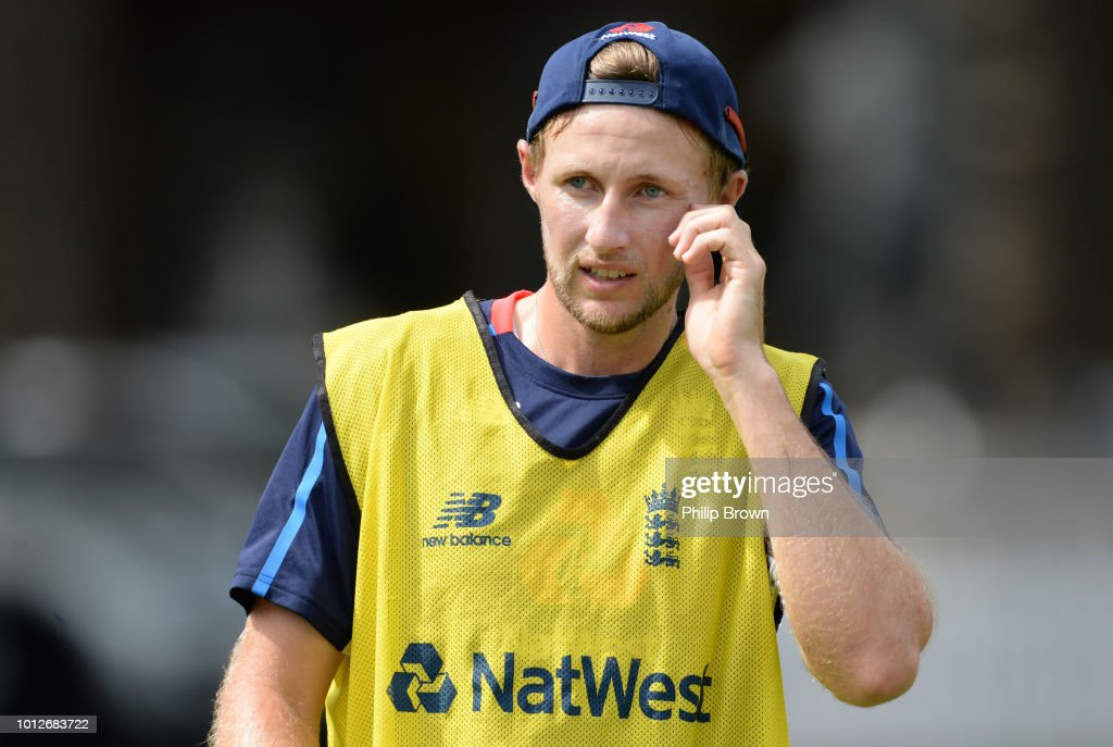 Joe Root of England during a training session before the 2nd Specsavers Test Match between England and India at Lord's Cricket Ground on August 7, 2018 in London England.