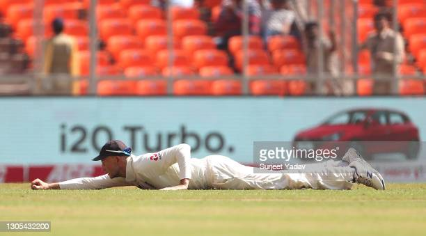Joe Root of England fields during Day Two of the 4th Test Match between India and England at Sardar Patel Stadium on March 05, 2021 in Ahmedabad,...