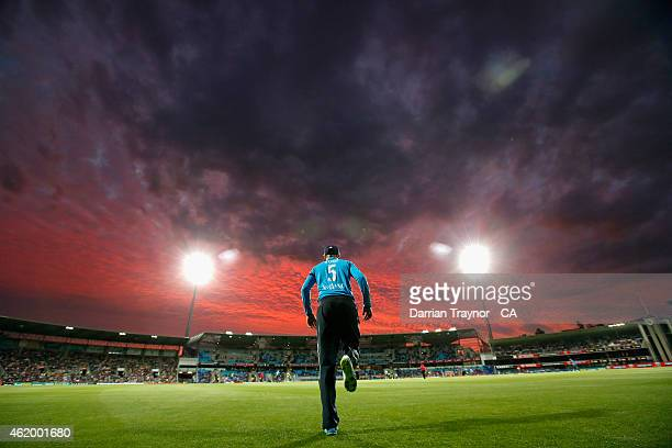 Joe Root of England fields on the boundary line during the One Day International Tri Series match between Australia and England at Blundstone Arena...