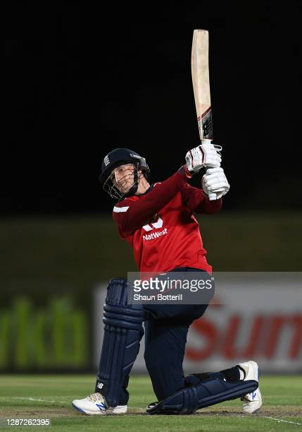 Joe Root of England hits a four during the warm up match between Team Morgan and Team Buttler at Boland Park on November 23, 2020 in Paarl, South...
