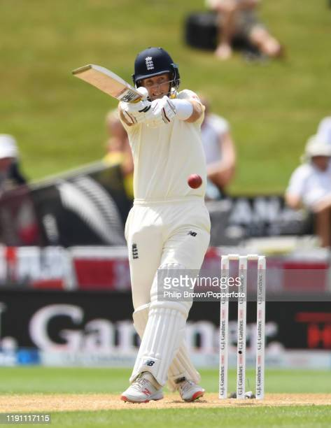 Joe Root of England hits out during day 3 of the second Test match between New Zealand and England at Seddon Park on December 01, 2019 in Hamilton,...