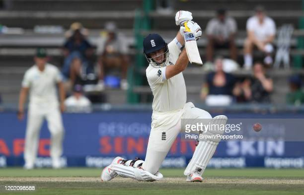 Joe Root of England hits out during Day Three of the Fourth Test at the Wanderers between England and South Africa on January 26, 2020 in...