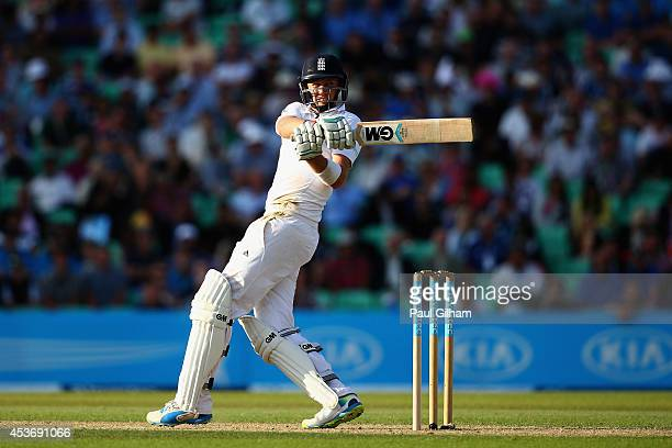 Joe Root of England hits out during day two of the 5th Investec Test match between England and India at The Kia Oval on August 16 2014 in London...