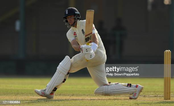 Joe Root of England hits out during the match between a Sri Lanka Board President's XI and England at P Sara Oval on March 12, 2020 in Colombo, Sri...