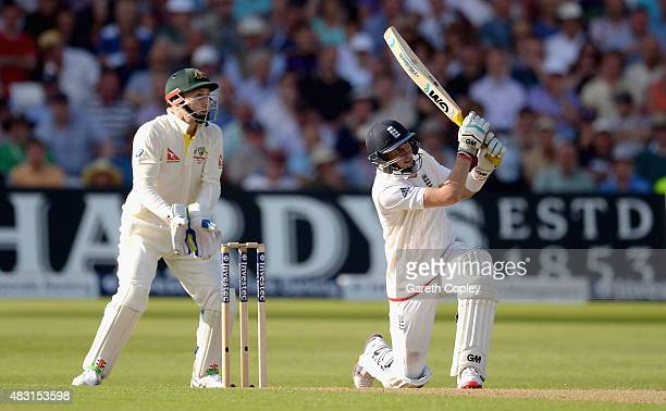 Joe Root of England hits out for six runs during day one of the 4th Investec Ashes Test match between England and Australia at Trent Bridge on August...