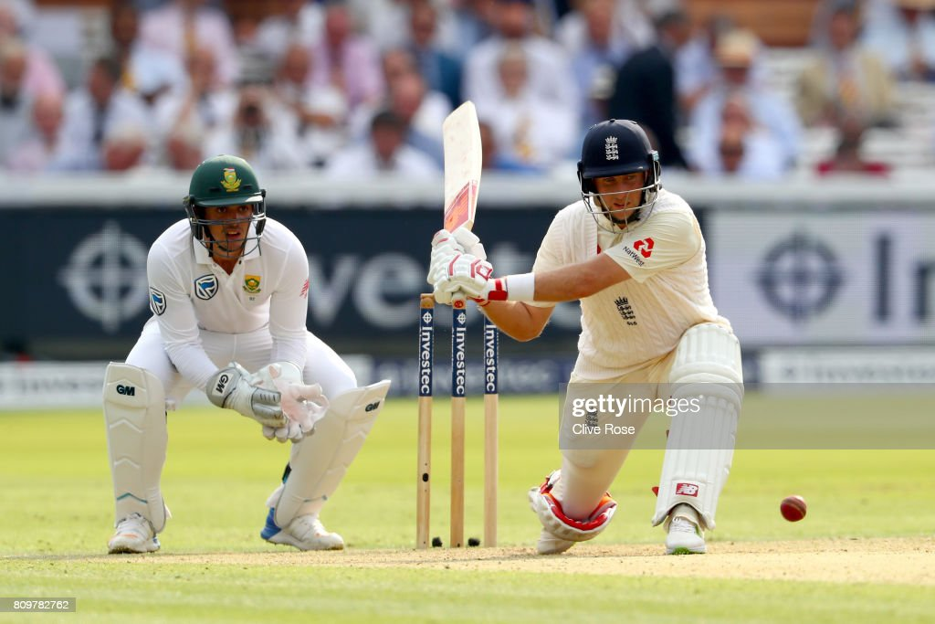 Joe Root of England in action during day one of the 1st Investec Test match between England and South Africa at Lord's Cricket Ground on July 6, 2017 in London, England.