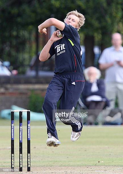 Joe Root of England in action during the One Day International series match between England U19 and Sri Lanka U19 at Fenner's on August 7 2010 in...