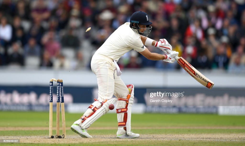 Joe Root of England is bowled by Duanne Olivier of South Africa during day three of the 4th Investec Test match between England and South Africa at Old Trafford on August 6, 2017 in Manchester, England.