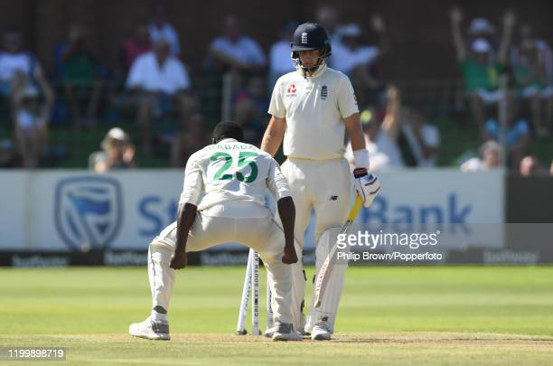 Joe Root of England is bowled by Kagiso Rabada during Day One of the Third Test between England and South Africa on January 16, 2020 in Port...