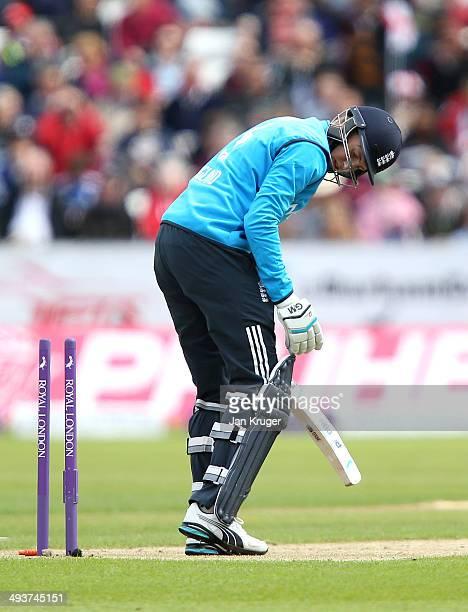 Joe Root of England is bowled by Lasith Malinga of Sri Lanka during the 2nd Royal London One Day International match between England and Sri Lanka at...