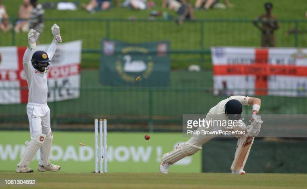Joe Root of England is bowled during the 2nd Cricket Test Match between Sri Lanka and England at Pallekele Cricket Stadium on November 14 2018 in...