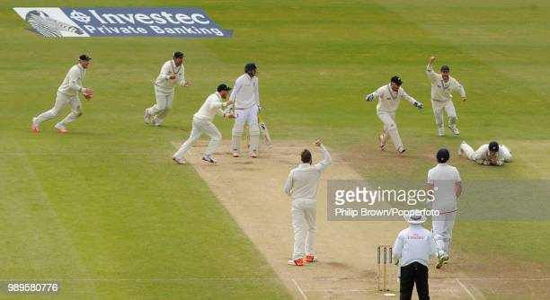 Joe Root of England is caught by Tom Latham of New Zealand off the bowling of Mark Craig for 0 during the 2nd Test match between England and New...