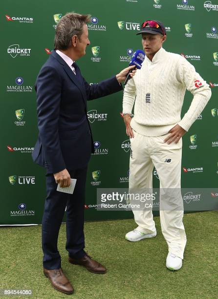 Joe Root of England is interviewed after Australia defeated England to win the Ashes during day five of the Third Test match during the 2017/18 Ashes...