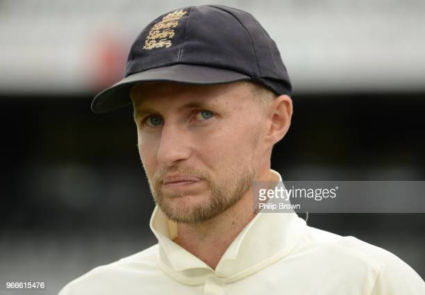 Joe Root of England is interviewed after England won the 2nd Natwest Test match between England and Pakistan at Headingley cricket ground on June 3...