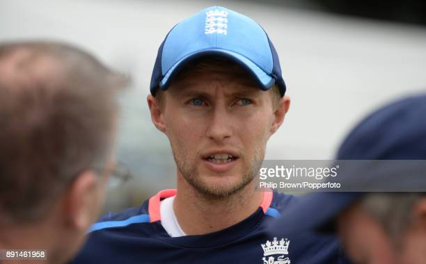 Joe Root of England is interviewed before a training session before the third Ashes cricket test match between Australia and England at the WACA on...