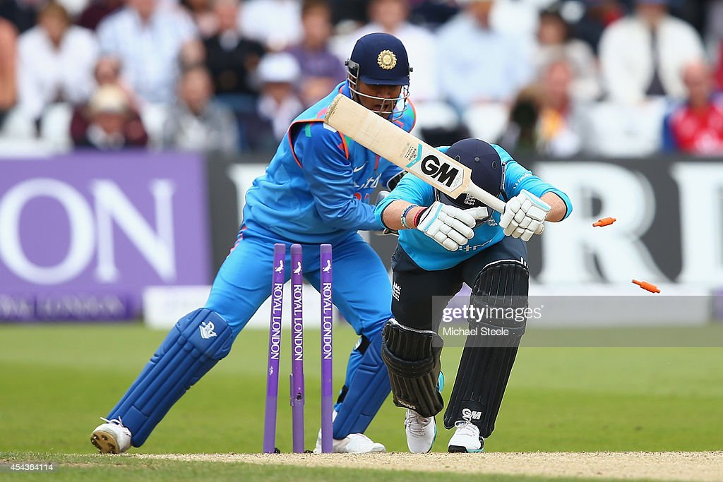 Joe Root of England is stumped by MS Dhoni of India off the bowling of Ravindra Jadeja during the third Royal London One-Day Series match between England and India at Trent Bridge on August 30, 2014 in Nottingham, England.