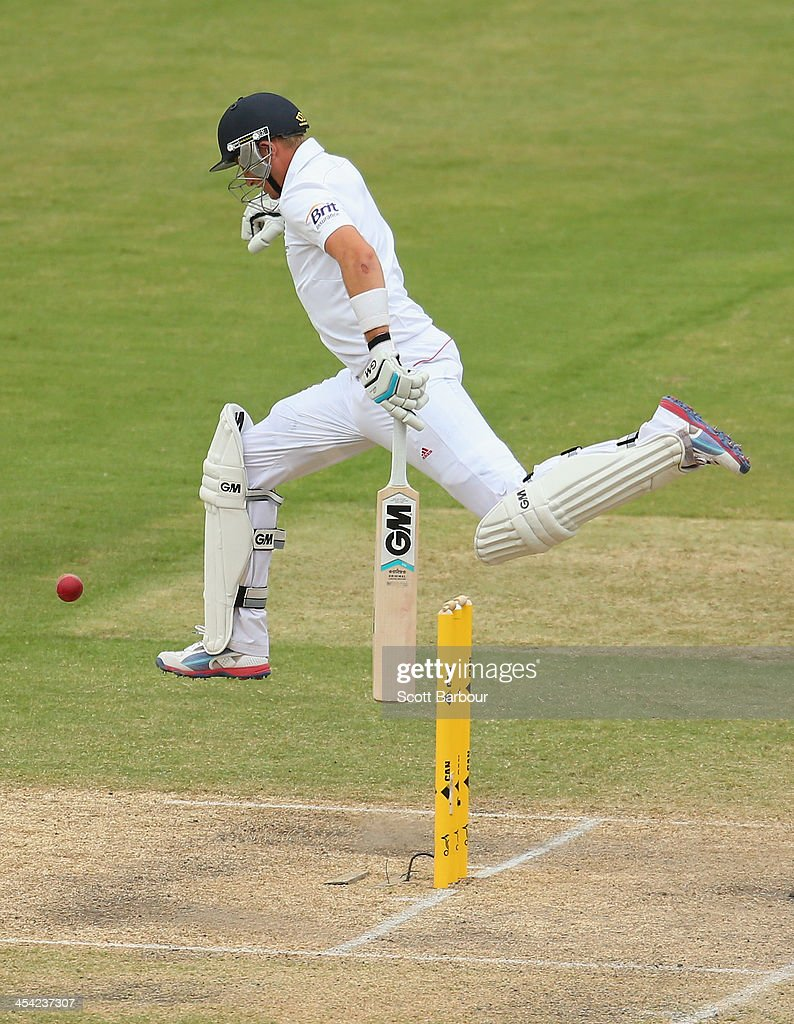 Joe Root of England jumps to avoid a shot at the stumps as he runs wbetween the wickets during day four of the Second Ashes Test Match between Australia and England at Adelaide Oval on December 8, 2013 in Adelaide, Australia.