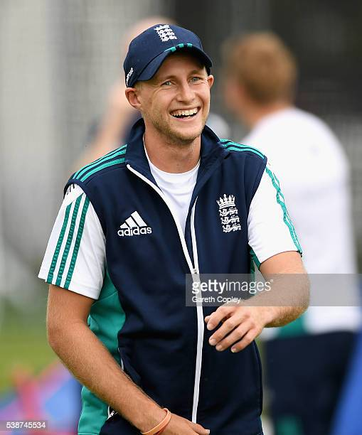 Joe Root of England laughs during a nets session ahead of the 1st Investec Test match between England and Sri Lanka at Lord's Cricket Ground on June...