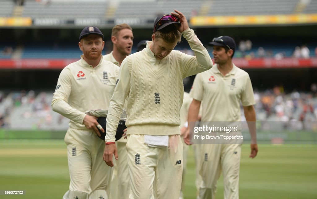 Joe Root of England leads his players off the field after the fourth Ashes cricket test match between Australia and England ended in a draw at the Melbourne Cricket Ground on December 30, 2017 in Melbourne, Australia.