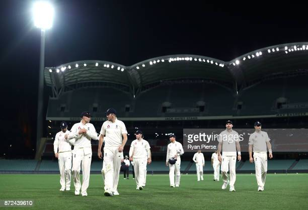 Joe Root of England leads his team from the ground at stumps during day three of the four day tour match between Cricket Australia XI and England at...