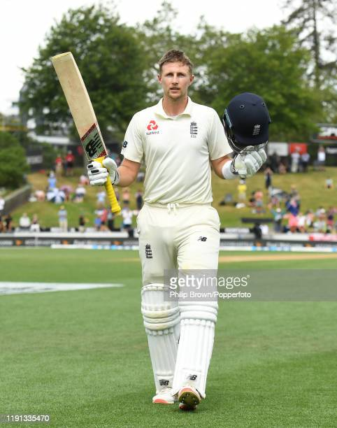 Joe Root of England leaves the field after being dismissed for 226 runs during day 4 of the second Test match between New Zealand and England at...