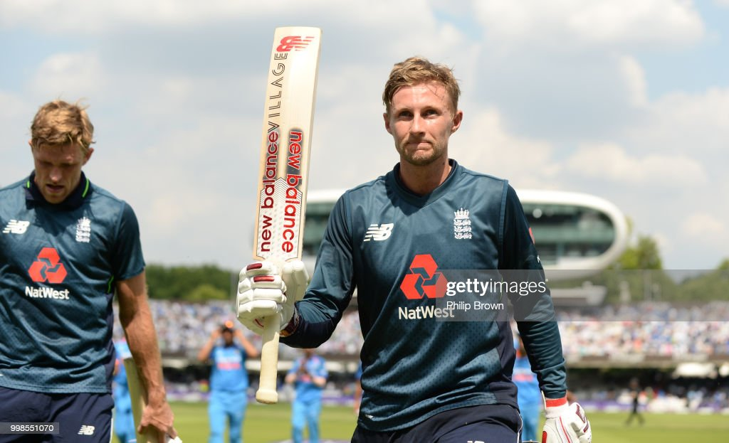 Joe Root of England leaves the field after scoring 113 during the 2nd Royal London One-Day International between England and India at Lord's Cricket Ground on July 14, 2018 in London, England.