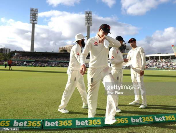 Joe Root of England leaves the ground at stumps during day three of the Third Test match during the 2017/18 Ashes Series between Australia and...