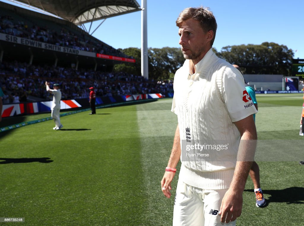Joe Root of England looks dejected after Australia claimed victory during day five of the Second Test match during the 2017/18 Ashes Series between Australia and England at Adelaide Oval on December 6, 2017 in Adelaide, Australia.