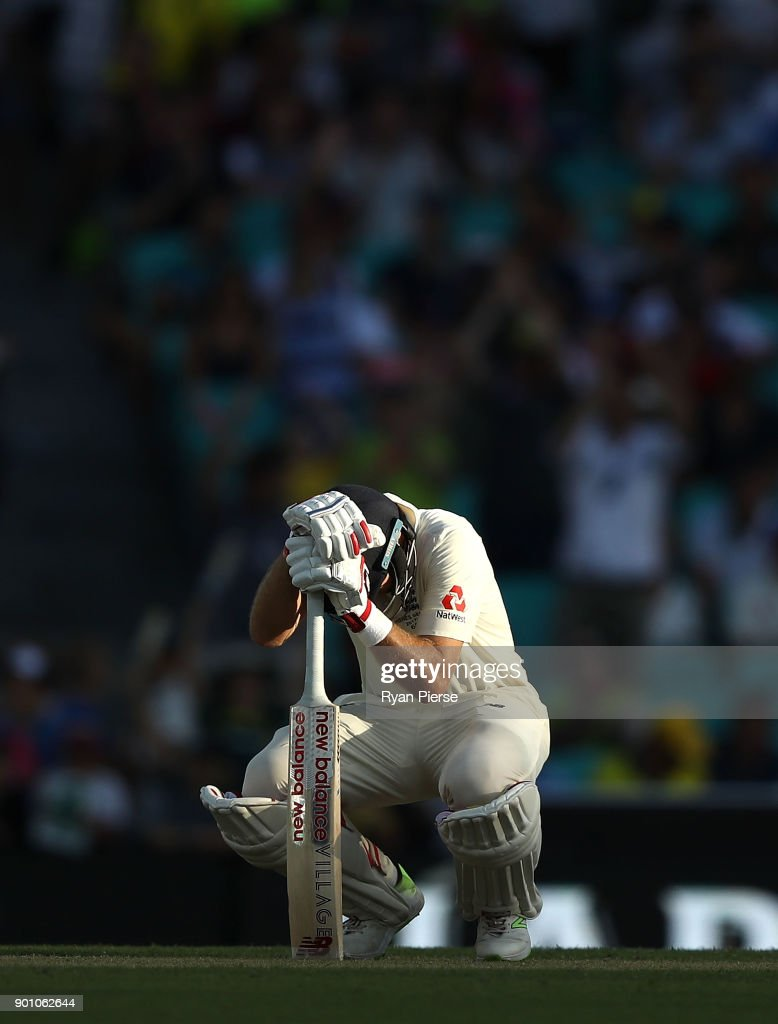 Joe Root of England looks dejected after being dismissed by Mitchell Starc of Australia during day one of the Fifth Test match in the 2017/18 Ashes Series between Australia and England at Sydney Cricket Ground on January 4, 2018 in Sydney, Australia.
