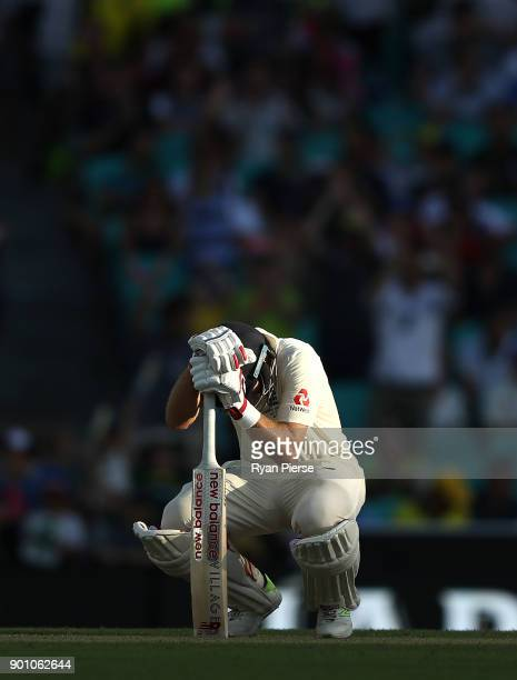 Joe Root of England looks dejected after being dismissed by Mitchell Starc of Australia during day one of the Fifth Test match in the 2017/18 Ashes...