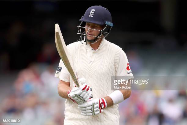 Joe Root of England looks dejected after being dismissed by Pat Cummins of Australia during day three of the Second Test match during the 2017/18...