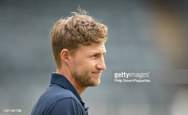 Joe Root of England looks on at the Wanderers during a training session before the fourth Test match against South Africa on January 22, 2020 in...