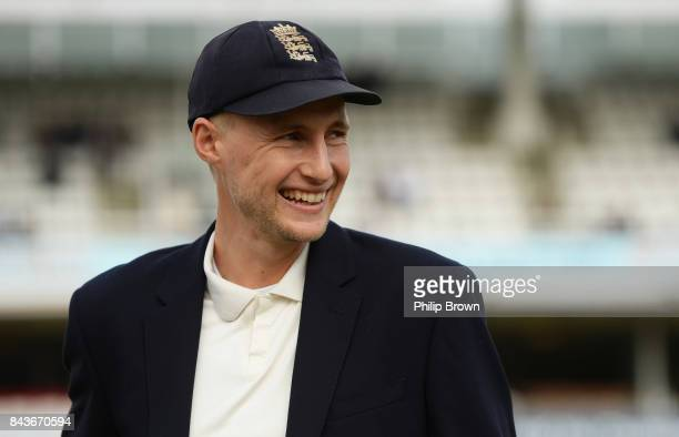 Joe Root of England looks on before the third cricket test between England and the West Indies at Lord's Cricket Ground on September 7 2017 in London...