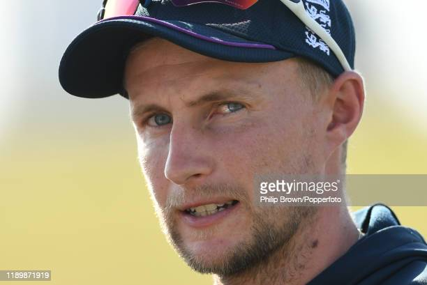 Joe Root of England looks on dafter New Zealand won the first Test match between New Zealand and England at Bay Oval on November 25, 2019 in Mount...