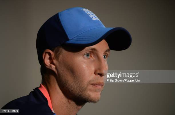 Joe Root of England looks on during a press conference before a training session before the third Ashes cricket test match between Australia and...