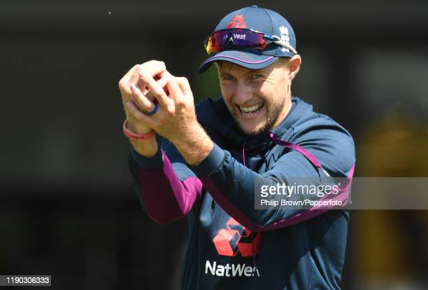 Joe Root of England looks on during a training session at Seddon Park before the second test match against New Zealand on November 27, 2019 in...