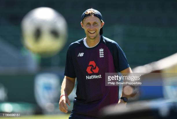 Joe Root of England looks on during a training session at St George's Park before the third Test Match between England and South Africa on January...