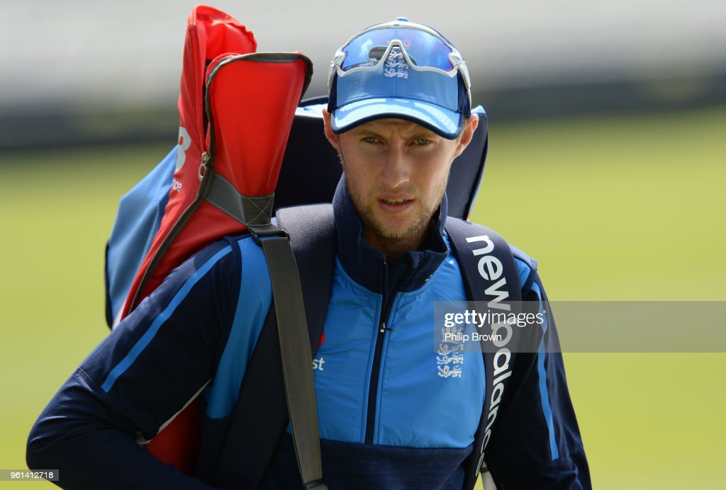 Joe Root of England looks on during a training session before the 1st Test match between England and Pakistan at Lord's cricket ground on May 22, 2018 in London, England.