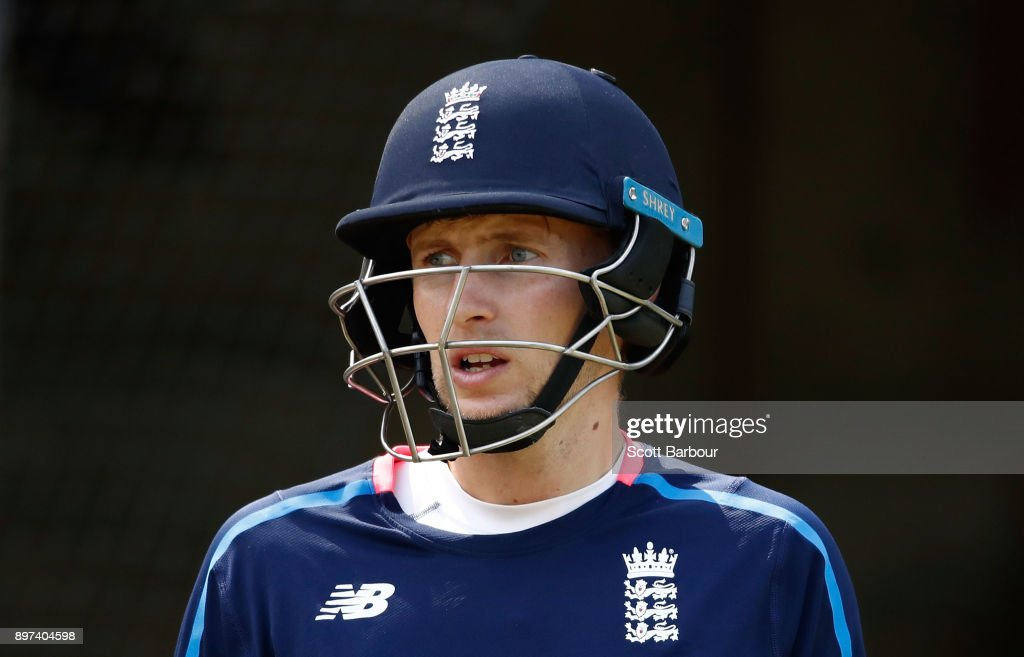 Joe Root of England looks on during an England nets session at the Melbourne Cricket Ground on December 23, 2017 in Melbourne, Australia.