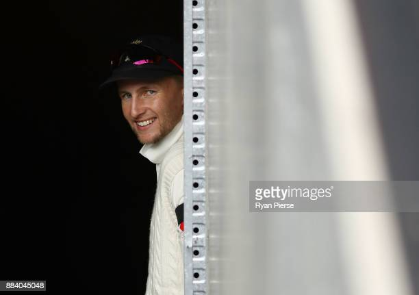 Joe Root of England looks on during day one of the Second Test match during the 2017/18 Ashes Series between Australia and England at Adelaide Oval...