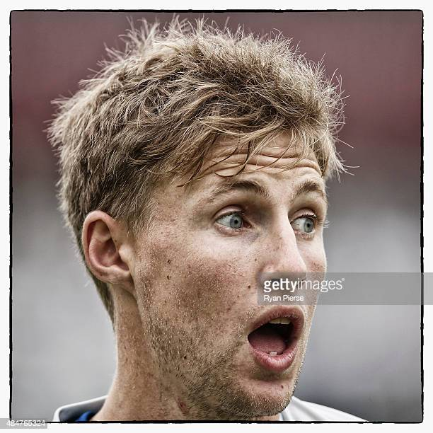 Joe Root of England looks on during the 4th Ashes Test between England and Australia at Trent Bridge on August 7 2015 in Nottingham England