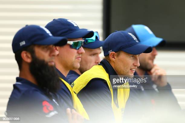 Joe Root of England looks on during the One Day Tour Match between the Cricket Australia XI and England at Drummoyne Oval on January 11 2018 in...