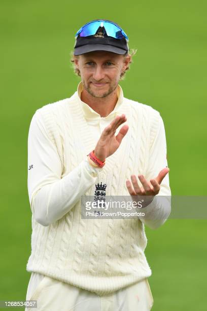 Joe Root of England looks on during the presentations after the third Test match between England and Pakistan at the Ageas Bowl on August 25, 2020 in...