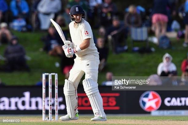 Joe Root of England looks to bat during day three of the Second Test match between New Zealand and England at Hagley Oval on April 1 2018 in...