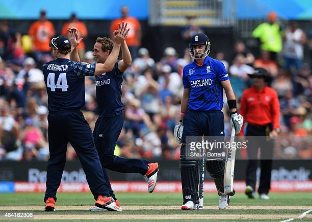 Joe Root of England loses his wicket to Josh Davey of Scotland during the 2015 ICC Cricket World Cup match between England and Scotland at Hagley...