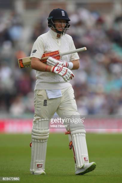 Joe Root of England makes his way back to the pavilion after being dismissed by Vernon Philander of South Africa during Day One of the 3rd Investec...