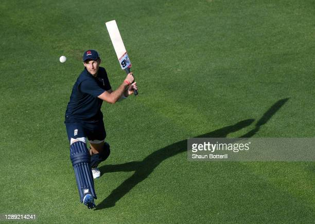 Joe Root of England plays a shot during a Net Session at Newlands Cricket Ground on December 03, 2020 in Cape Town, South Africa.