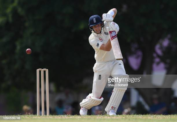 Joe Root of England plays a shot during day one of the match between West Indies Board XI and England at the Three Ws Oval on January 15, 2019 in...